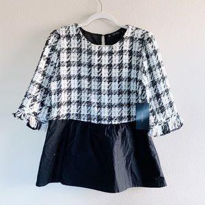 Zara tweed ruffle top